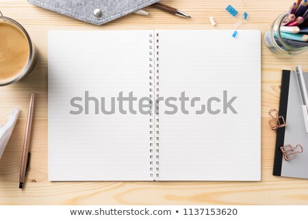 pen in an opened wooden case on notebook Stock photo © shutswis