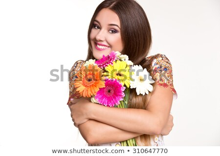woman posing in flowers Stock photo © smithore