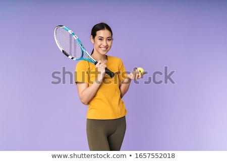 Nő tart teniszütő arc fitnessz sportok Stock fotó © photography33
