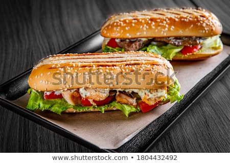 Sandwich with meat and fries Stock photo © pzaxe