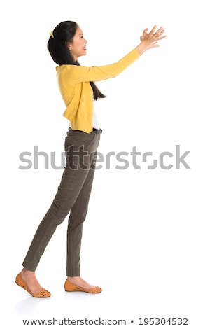 Full Body Arms Raised Young Asian Woman Foto d'archivio © szefei
