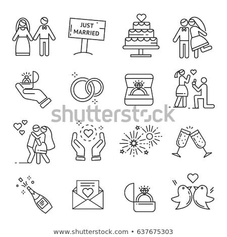 Madár menyasszony vőlegény esküvői torta buli szeretet Stock fotó © creative_stock