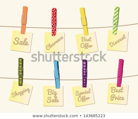 Branco nota prendedor de roupa isolado negócio Foto stock © winterling