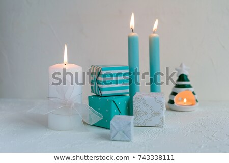 Candle and Holder with Flame isolated on white Stock photo © danny_smythe