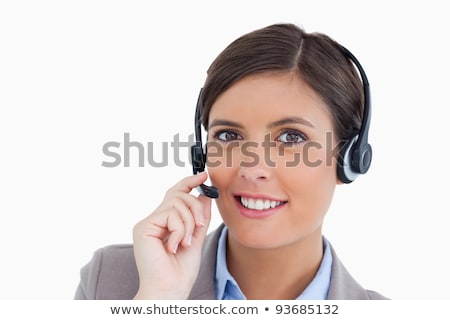 Sorridere femminile call center agente auricolare Foto d'archivio © wavebreak_media