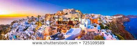 panorámakép · kilátás · naplemente · Santorini · város · nap - stock fotó © sophie_mcaulay
