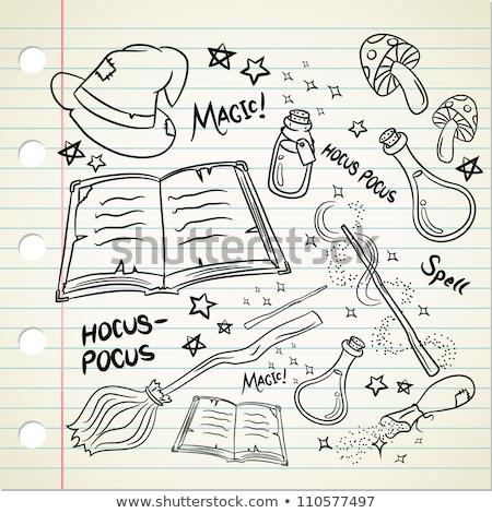 Karikatür el büyü büyü çizim sanat Stok fotoğraf © indiwarm