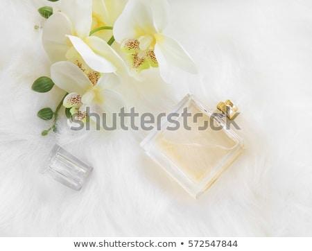 Perfume garrafa rosa orquídeas branco azul Foto stock © justinb