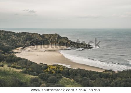 Groot-brittannië luchtfoto strand klif noorden Stockfoto © CaptureLight