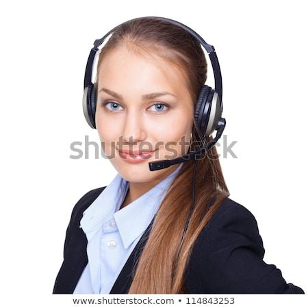 Beautiful headset businesswoman portrait in white stock photo © lunamarina