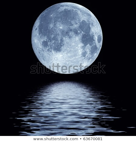 Full blue moon over cold night water Stock photo © ikopylov