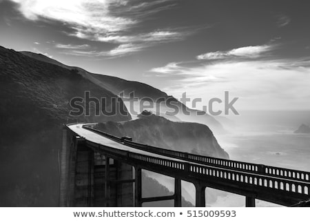 морской · пейзаж · монохромный · черно · белые · бурный · большой · пород - Сток-фото © wolterk