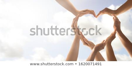Dobroczynność lupą ikona serca strony słowo Zdjęcia stock © tashatuvango