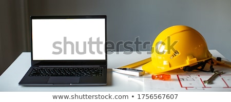 Сток-фото: Construction Worker Showing Laptop