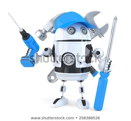 robô · edifício · drywall · 3d · render · trabalhar - foto stock © kirill_m