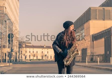saxofoon · muzikant · mannelijke - stockfoto © andreypopov