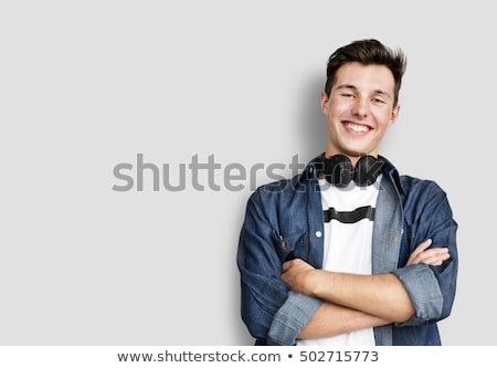 portret · jonge · man · koptelefoon · zwarte · business · zakenman - stockfoto © AndreyPopov