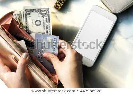 Credit cards, mobile phone and banknotes  Stock photo © deyangeorgiev