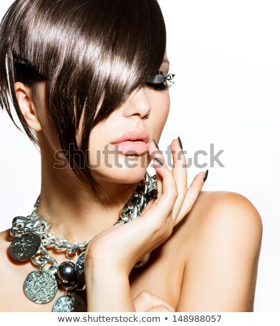 Stock photo: Brunette woman Portrait. Black short hair style. Manicured nails
