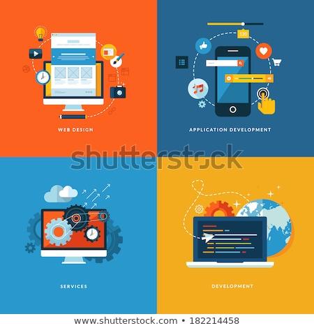 クラウドネットワーク デザイン 長い 影 コンピュータ インターネット ストックフォト © tashatuvango