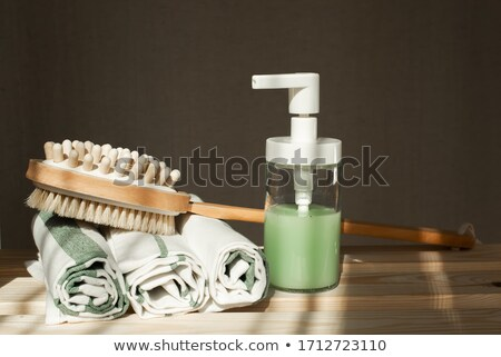 Toiletartikelen handdoeken plank sauna houten emmer Stockfoto © Mikko