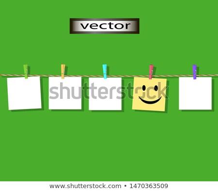 Emotikonok levélpapír kötél ruházat nyomtatott boldog Stock fotó © stevanovicigor