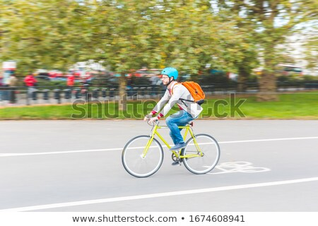 mavi · bisiklet · kask · yalıtılmış · spor · dağ - stok fotoğraf © vividrange