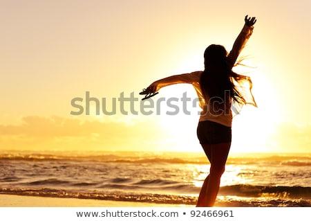 kadın · dans · güneş · çim · adam · dans - stok fotoğraf © nejron