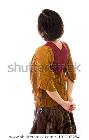 カジュアル · 女性 · 立って · 手 · 戻る - ストックフォト © bmonteny