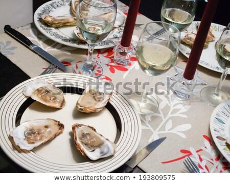 ストックフォト: カキ · 白ワイン · 務め · ろうそくの光 · ディナー · ドリンク