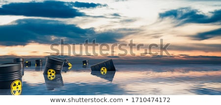 Stock photo: Radioactive barrel in the ocean - 3D render