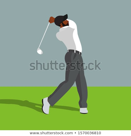 Jogador de golfe céu nuvens esportes bola masculino Foto stock © leonido