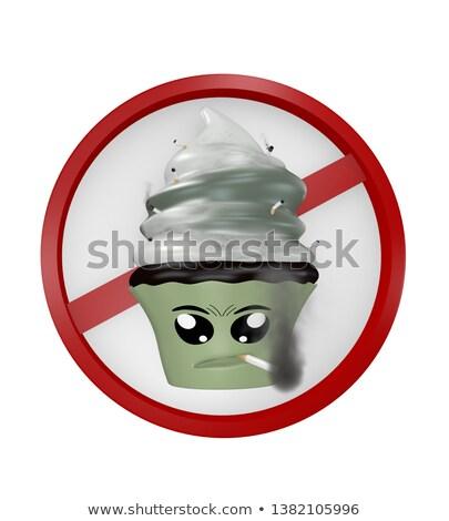Emoticon ţigară 3d face supărat ochi roşu Imagine de stoc © mariephoto
