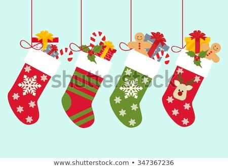 Wektora rysunek christmas skarpetki zielone tekstury Zdjęcia stock © aliaksandra
