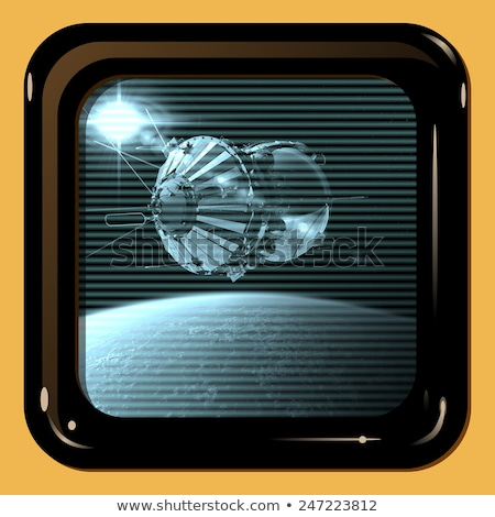 Retro telewizja Widok pierwszy statek kosmiczny ziemi Zdjęcia stock © mechanik