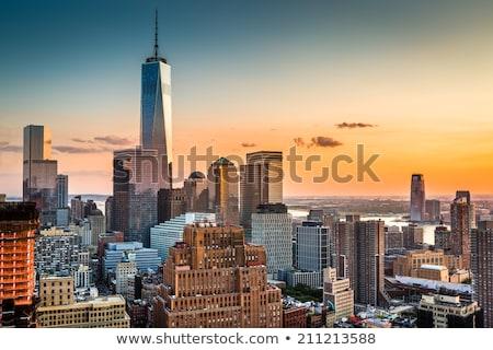 Alsó Manhattan új sziluett Freedom Tower New York Stock fotó © lunamarina