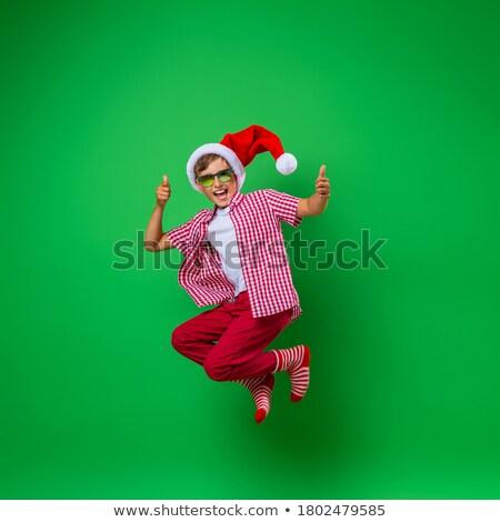 mikulás · fiú · izolált · gyermek · kalap · portré - stock fotó © smitea