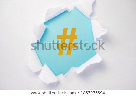 Stockfoto: Gescheurd · papier · woord · achter · gescheurd · pakpapier · computer