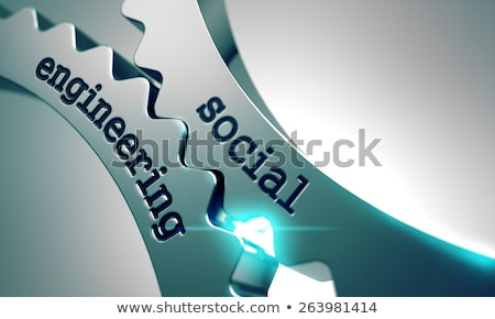 Sociale engineering metaal versnellingen mechanisme internet Stockfoto © tashatuvango