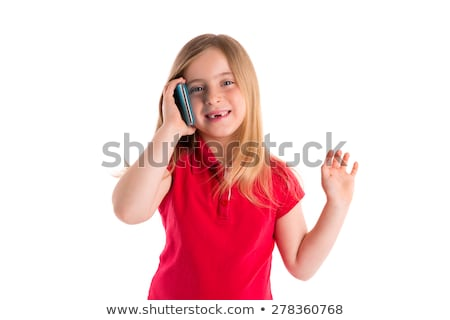 blond indented girl smiling talking smartphone stock photo © lunamarina