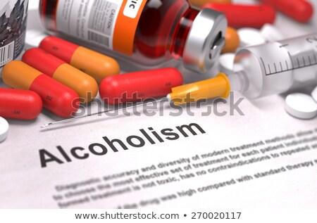 Alkolizm tıbbi kırmızı hapları şırınga seçici odak Stok fotoğraf © tashatuvango