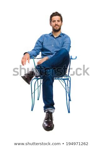 красивый · молодым · человеком · глядя · вниз · мышления · борода - Сток-фото © feedough