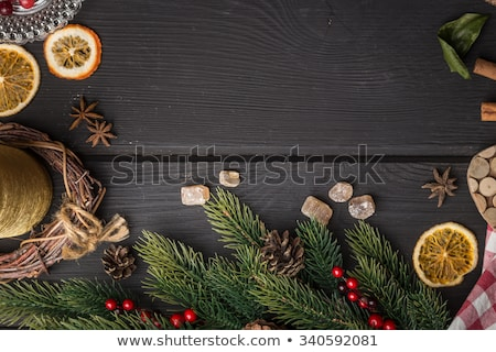Decorative Candle High View with Pine Background stock photo © rekemp