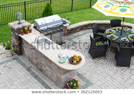 Ornamental brick paved outdoor patio Stock photo © ozgur