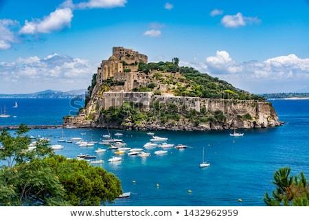 ストックフォト: 城 · 南 · イタリア · 水 · 青 · パノラマ
