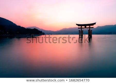 Sereno vista lago crepúsculo forestales Foto stock © Juhku