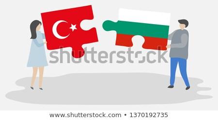 Turcja Bułgaria flagi puzzle wektora obraz Zdjęcia stock © Istanbul2009