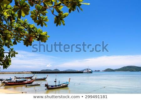 sea near bridge pier at laem panwa cape in phuket thailand stock photo © yongkiet
