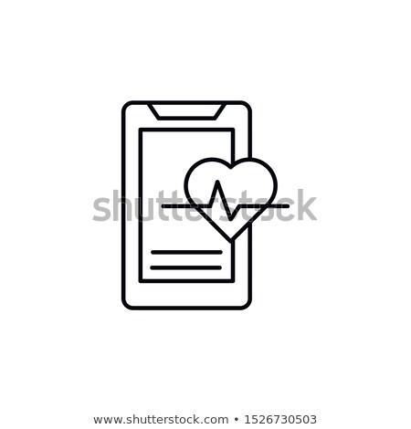 heartbeat display in monitor thin line icon stock photo © rastudio
