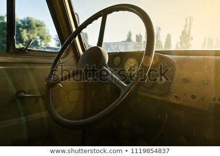 inside of old and rusty truck cab stock photo © amok